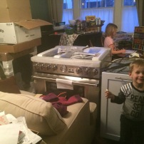 Welcome to our house! We have a dishwasher, a range, and 12 boxes for you.