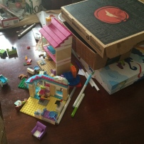 Multipurpose table - for legos, pizza box, and coloring set