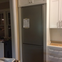 Fridge installed! Just waiting for it's new look (cabinet fronts!)