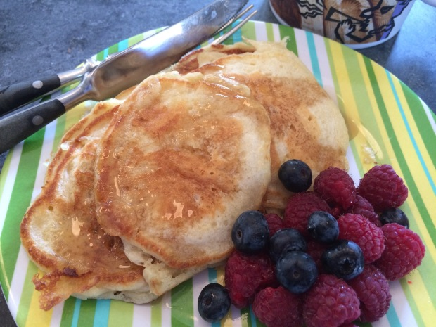 Lofty pancakes. Kids LOVED. They ate the leftovers for lunch, and asked for more at dinner.