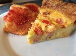 Ham and Tomato Quiche, toasted brioche with strawberry jam
