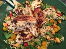 Asian Noodle Salad with Chicken Fingers