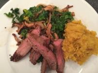 Miso Steak, Mustard-Shittake Escabeche, Acorn Squash